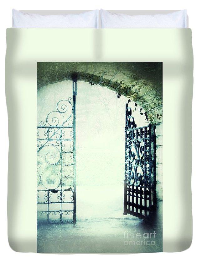 Gate Duvet Cover featuring the photograph Open Iron Gate In Fog by Jill Battaglia