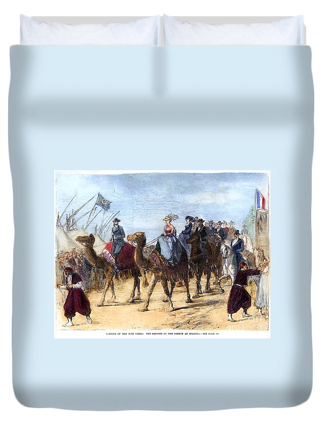 1869 Duvet Cover featuring the photograph Opening Of The Suez Canal by Granger