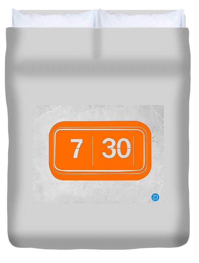Duvet Cover featuring the photograph Orange alarm by Naxart Studio