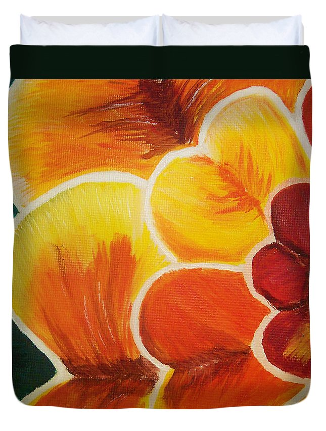 Flower Duvet Cover featuring the digital art Orange Blossom by Ivy Studios