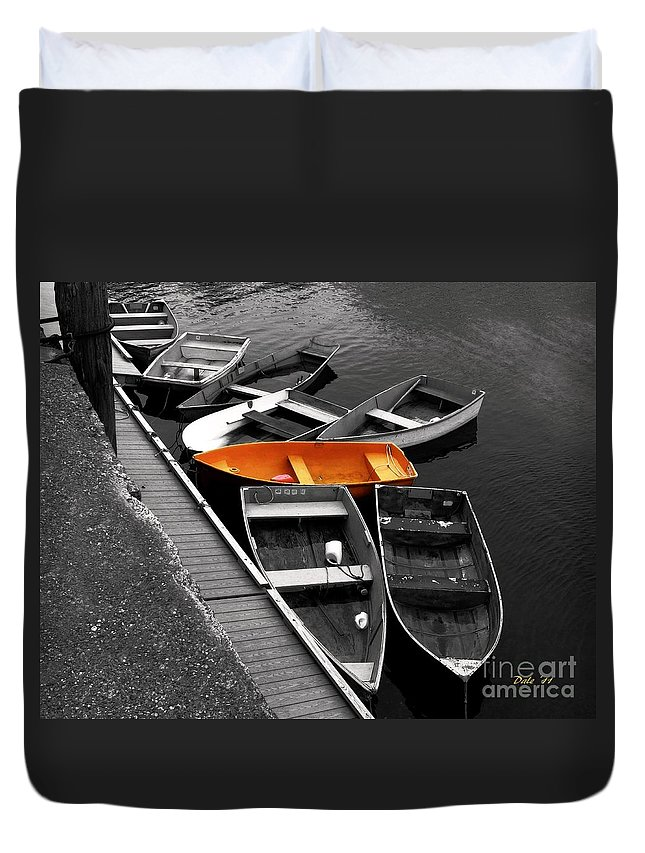 Boats Duvet Cover featuring the digital art Orange Dinghy by Dale  Ford