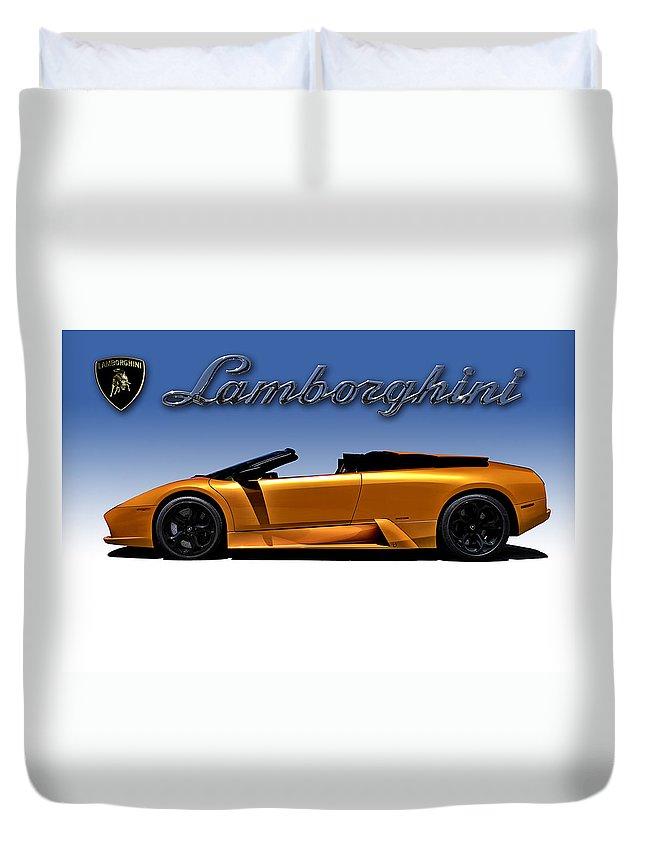 Lamborghini Duvet Cover featuring the digital art Orange Murcielago by Douglas Pittman