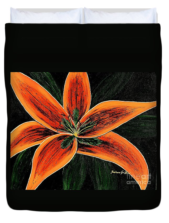 Orange Oriental Lily Duvet Cover featuring the painting Orange Oriental Lily by Barbara Griffin