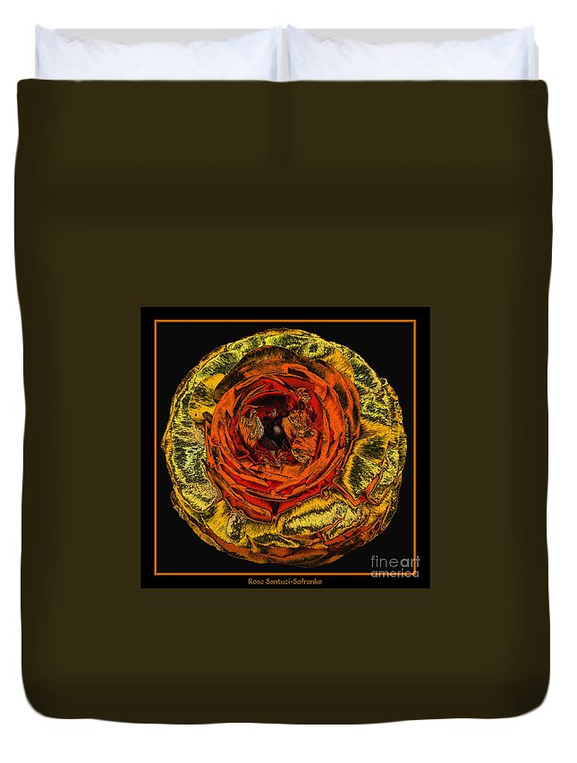 Orange Ranunculus Duvet Cover featuring the photograph Orange Ranunculus With A Chrome Effect by Rose Santuci-Sofranko