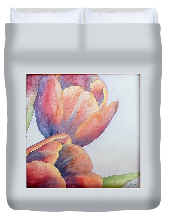 Flower Duvet Cover featuring the painting Orange Tulips II by Catherine JN Christopher