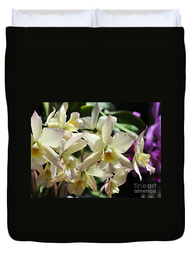 Flower Duvet Cover featuring the photograph Orchid Iwanagara 9854 by Terri Winkler