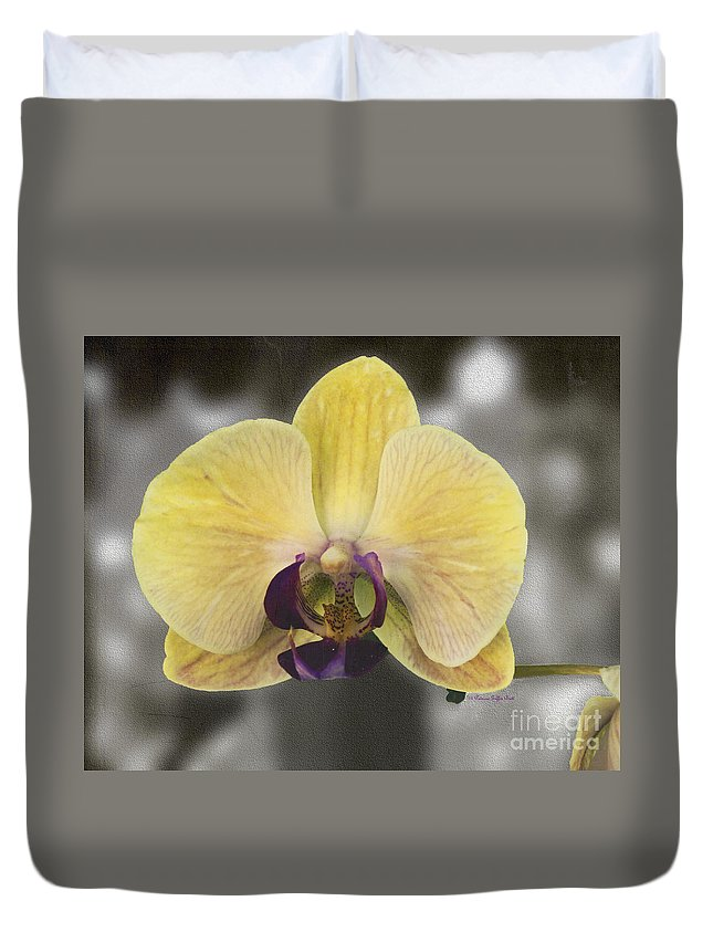 Mixed Media Duvet Cover featuring the photograph Orchid Study III by Patricia Griffin Brett