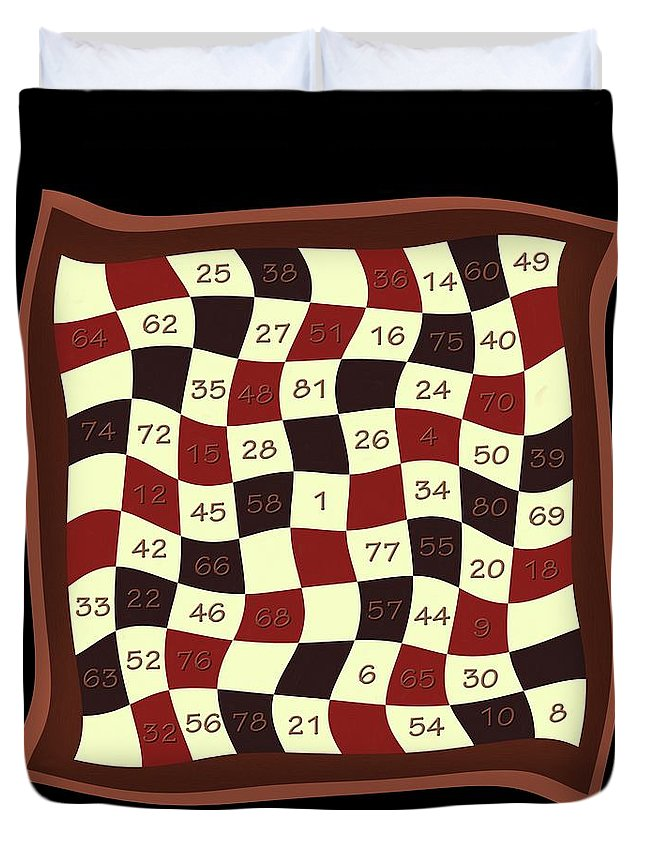 Magic Duvet Cover featuring the painting Order Nine Magic Square Puzzle by Pet Serrano