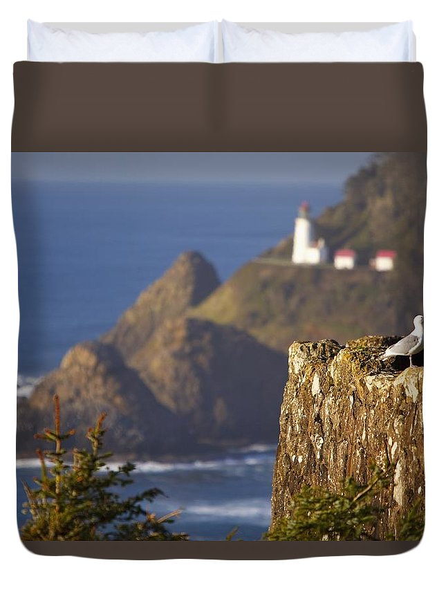 Coast Duvet Cover featuring the photograph Oregon, United States Of America Heceta by Craig Tuttle