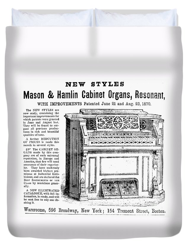1870 Duvet Cover featuring the photograph Organ Ad, 1870 by Granger