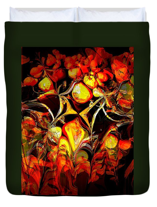 Abstract Duvet Cover featuring the painting Organic Meltdown by Renate Nadi Wesley