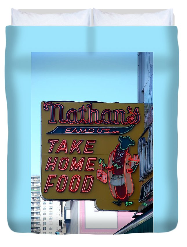 Brooklyn Duvet Cover featuring the photograph Original Nathan's by Rob Hans