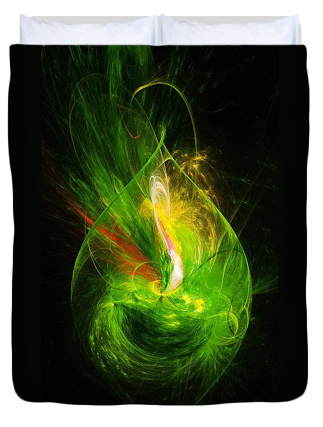 Ornate Fine Art Duvet Cover featuring the digital art Ornate Emerald Green Drop by Andee Design