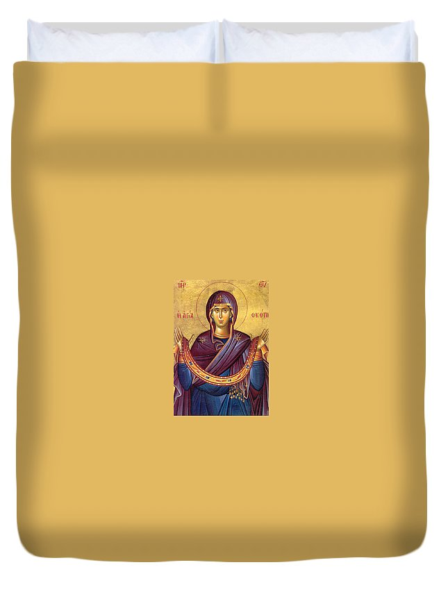 Christianity Duvet Cover featuring the photograph Orthodox Icon Virgin Mary by Munir Alawi