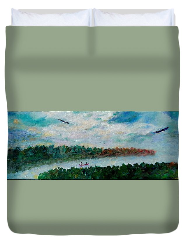 Lakeside Duvet Cover featuring the painting Our Amazing Lake by Naomi Gerrard
