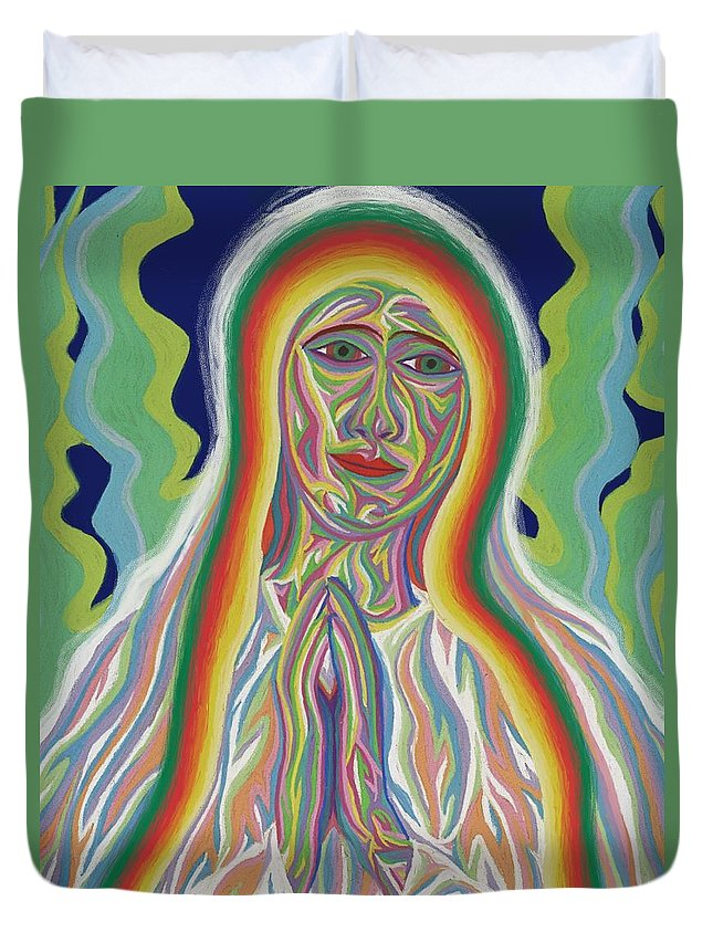 Virgin Mary Duvet Cover featuring the painting Our Lady Of Fatima 2012 - Detail B by Robert SORENSEN