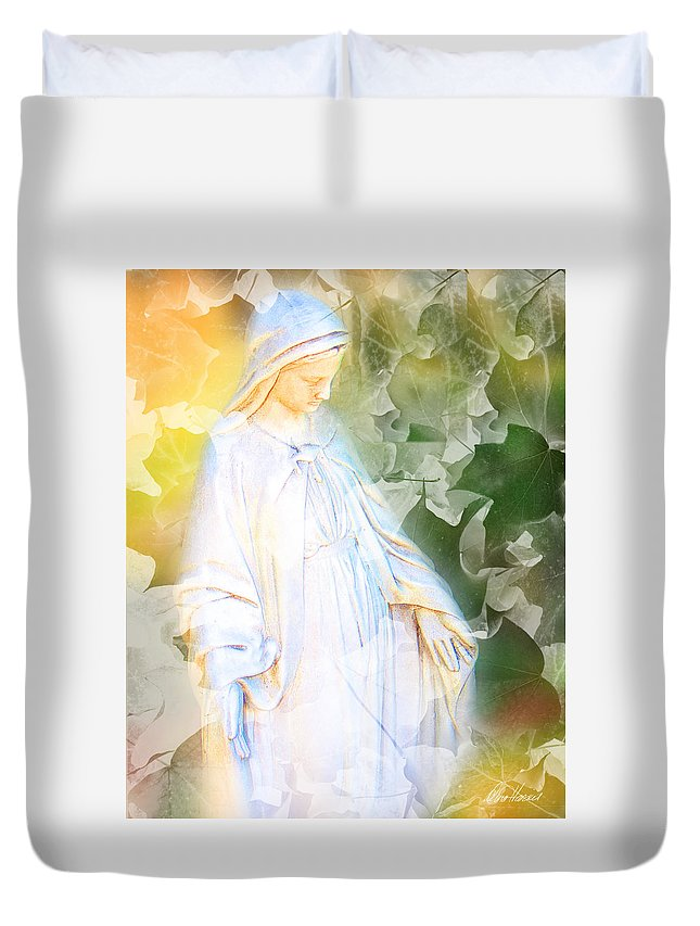 Mary Duvet Cover featuring the photograph Our Lady Of Nature by Diana Haronis