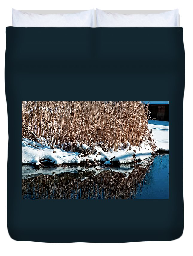 Water Duvet Cover featuring the photograph Outcrop by Burney Lieberman