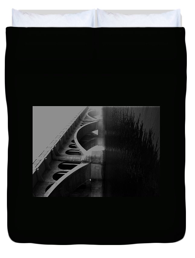 Elm Duvet Cover featuring the photograph Over The Bridge by The Artist Project