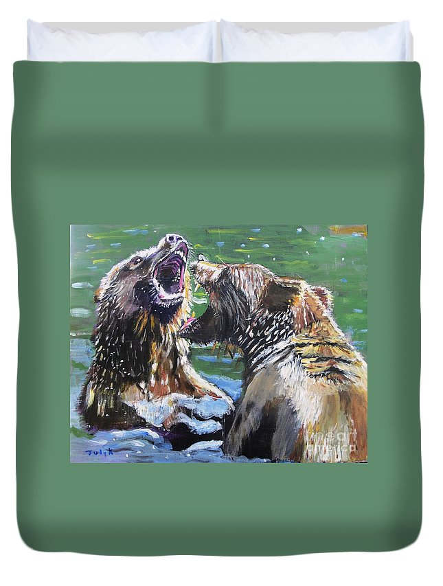 Bears Duvet Cover featuring the painting Overbearing by Judy Kay