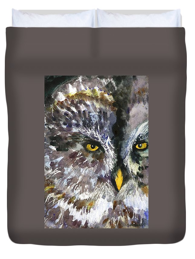 Art Duvet Cover featuring the painting Owl Eyes by Miriam Schulman