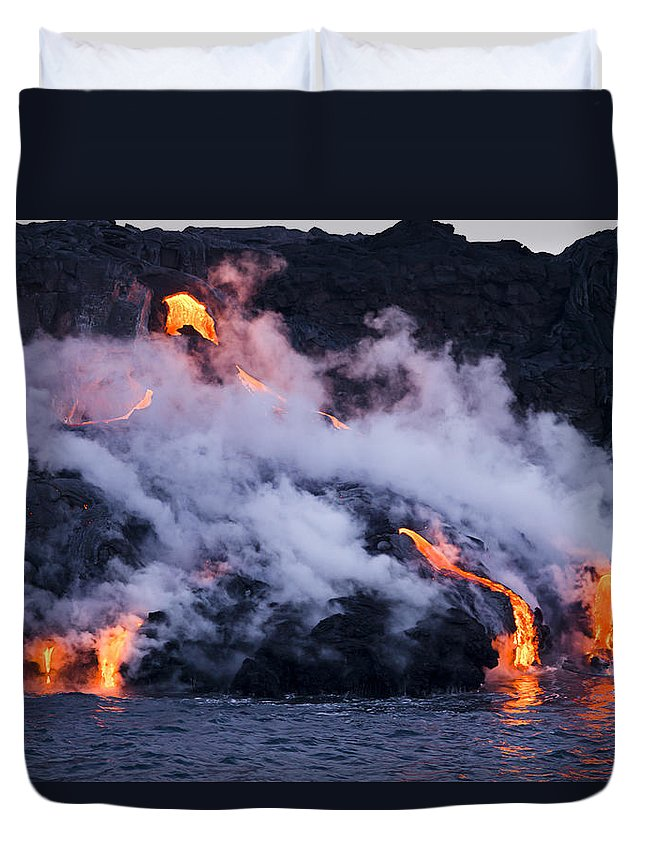 A'a Duvet Cover featuring the photograph Pacific Lava Flow II by Dave Fleetham - Printscapes
