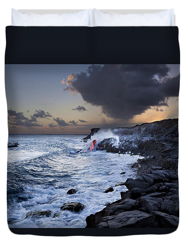 A'a Duvet Cover featuring the photograph Pacific Lava Flow Iv by Dave Fleetham - Printscapes