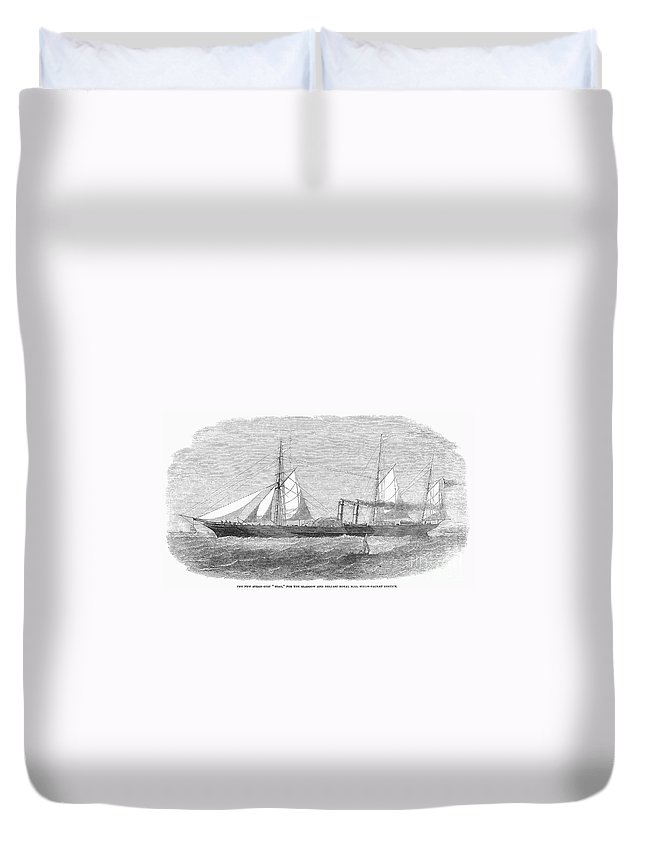 1853 Duvet Cover featuring the photograph Paddle Wheel Packet Ship by Granger