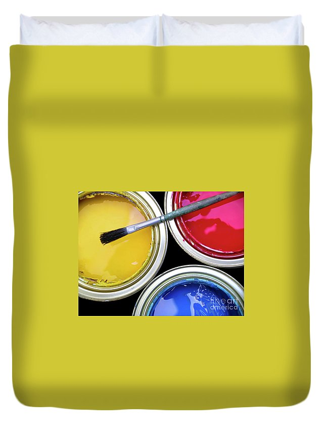 Art Duvet Cover featuring the photograph Paint Cans by Carlos Caetano