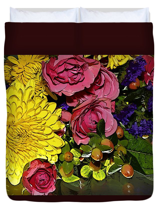 Flowers Duvet Cover featuring the photograph Painted Bouquet by Phyllis Denton