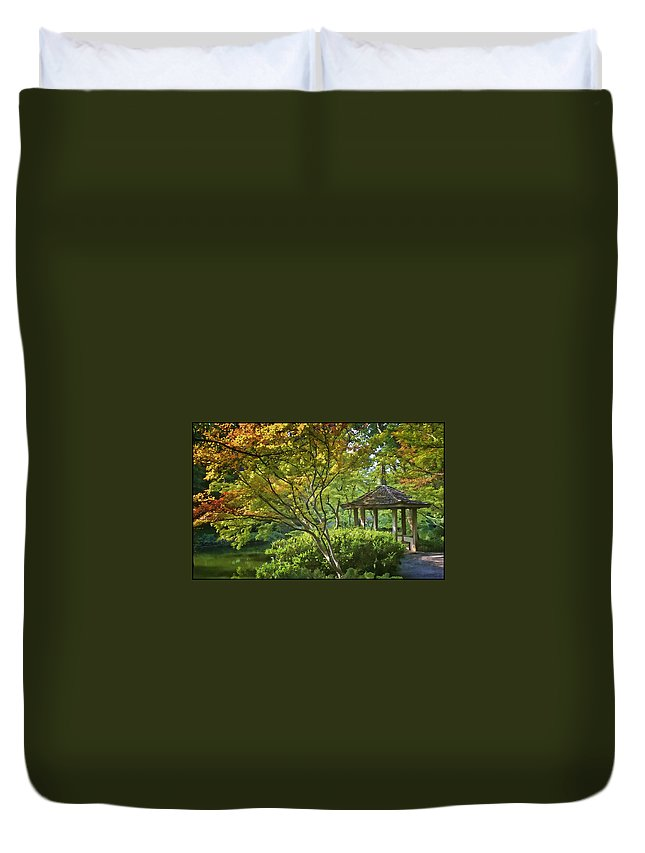 Architecture Duvet Cover featuring the photograph Painted Gardens by Joan Carroll