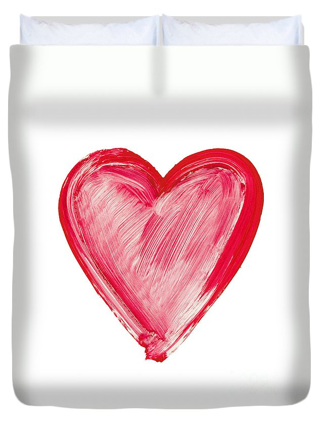 Love Duvet Cover featuring the painting Painted Heart - Symbol Of Love by Michal Boubin