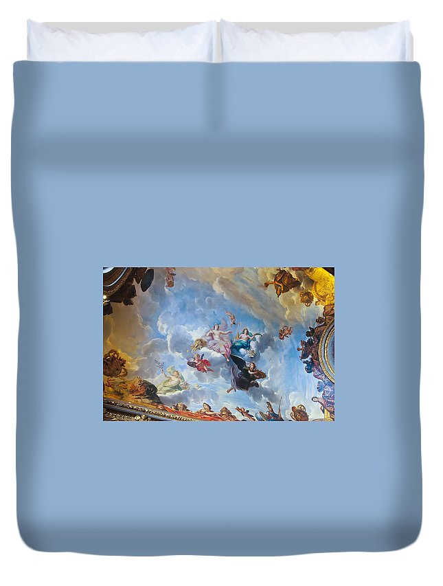 Palace Of Versailles Paris France Duvet Cover featuring the photograph Palace Of Versailles Ceiling Art by Jon Berghoff