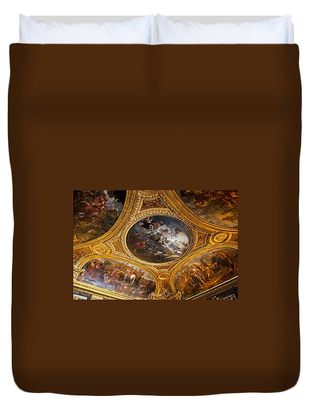 Palace Of Versailles Paris France Duvet Cover featuring the photograph Palace Of Versailles Ceiling by Jon Berghoff