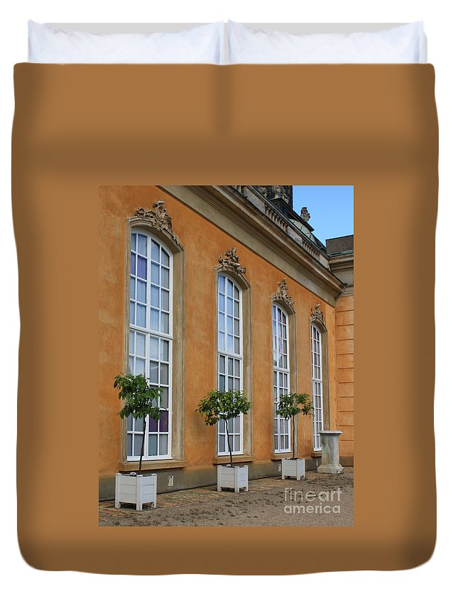 Windows Duvet Cover featuring the photograph Palace Windows And Topiaries by Carol Groenen