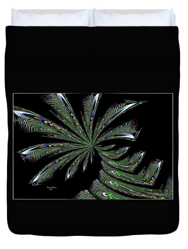 Palm Duvet Cover featuring the digital art Palm Trees by Maria Urso