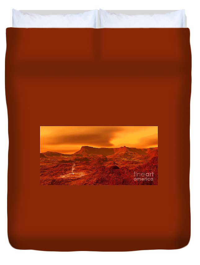Color Image Duvet Cover featuring the digital art Panorama Of A Landscape On Venus At 700 by Ron Miller