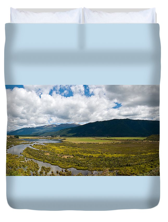 Abstract Duvet Cover featuring the photograph Panorama Of Waiau River Wetland South New Zealand by U Schade