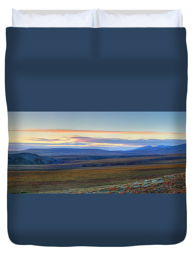 Light Duvet Cover featuring the photograph Panoramic At Sunset Along The Dempster by Robert Postma