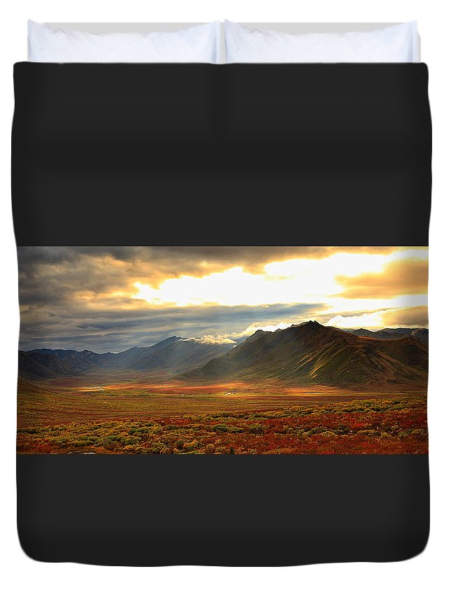Light Duvet Cover featuring the photograph Panoramic Image Of Late Afternoon by Robert Postma