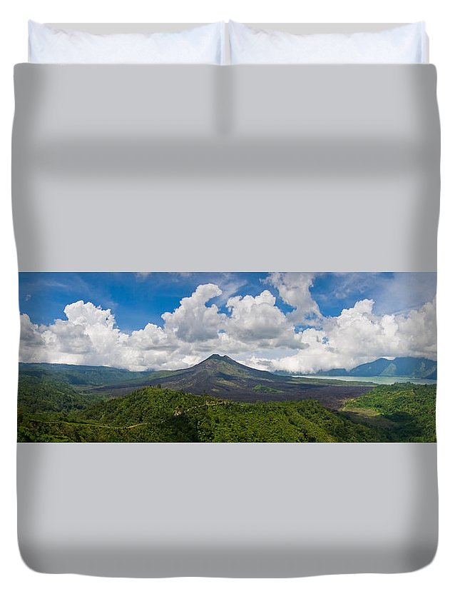 Ash Duvet Cover featuring the photograph Panoramic View Of A Volcano Mountain by U Schade