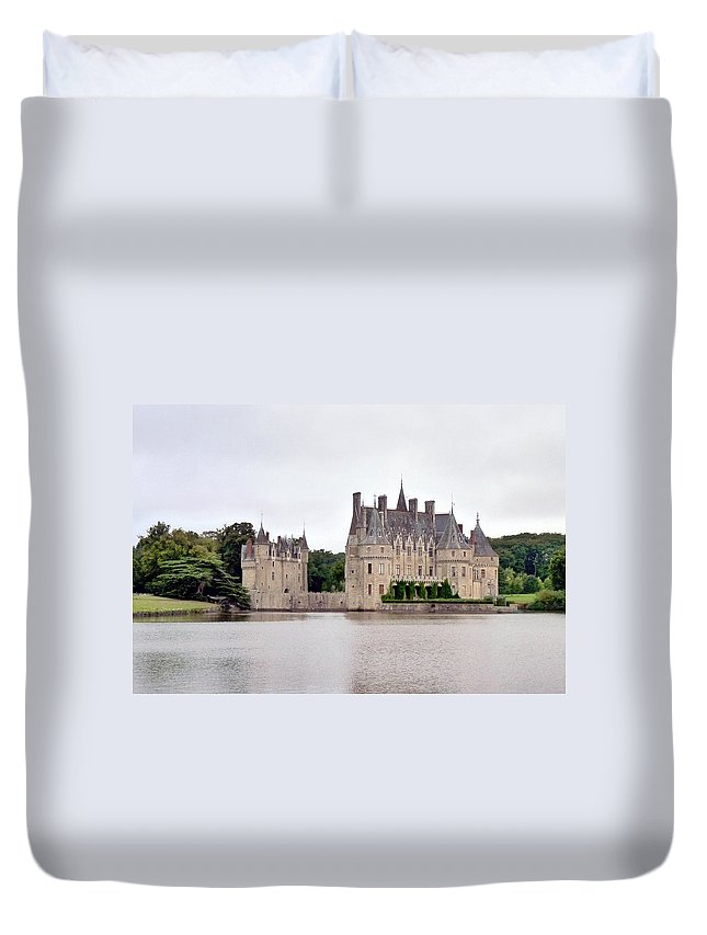Chateau Duvet Cover featuring the photograph Panoramic View Of Chateau De La Bretesche by Carla Parris