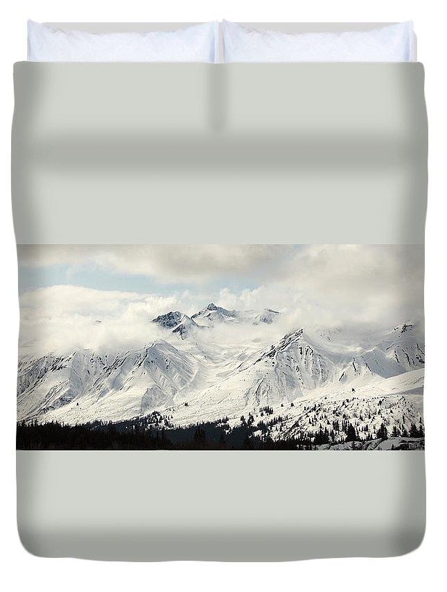 Light Duvet Cover featuring the photograph Panoramic View Of Snow-covered St by Robert Postma