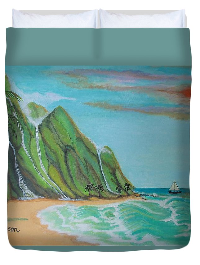 Elaine Haakenson Duvet Cover featuring the painting Paradise Found by Elaine Haakenson