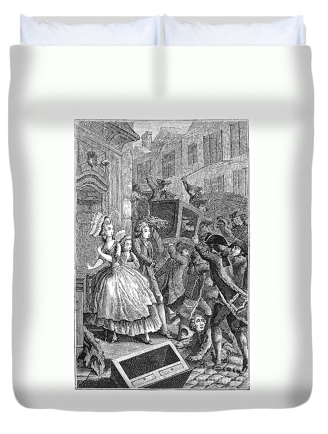 18th Century Duvet Cover featuring the photograph Paris: Uproar In The Street by Granger