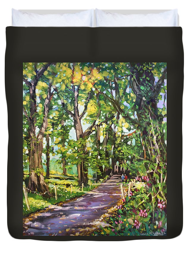 Tree Lined Avenue Duvet Cover featuring the painting Park Hotel Avenue County Cavan by Conor McGuire
