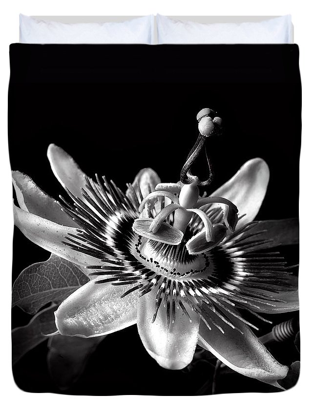 Flower Duvet Cover featuring the photograph Passion Flower In Black And White by Endre Balogh