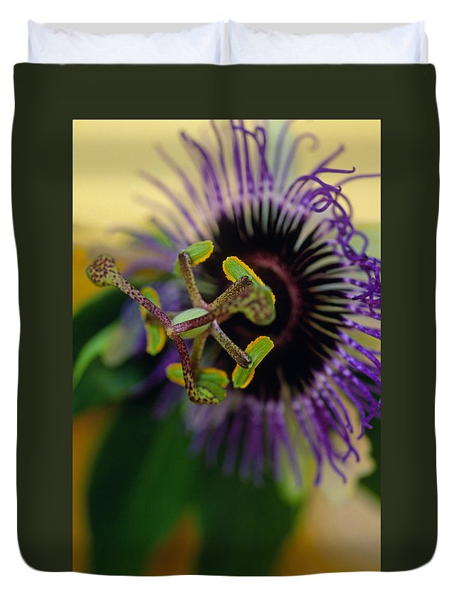 Floral Duvet Cover featuring the photograph Passionate Flower by Kathy Yates