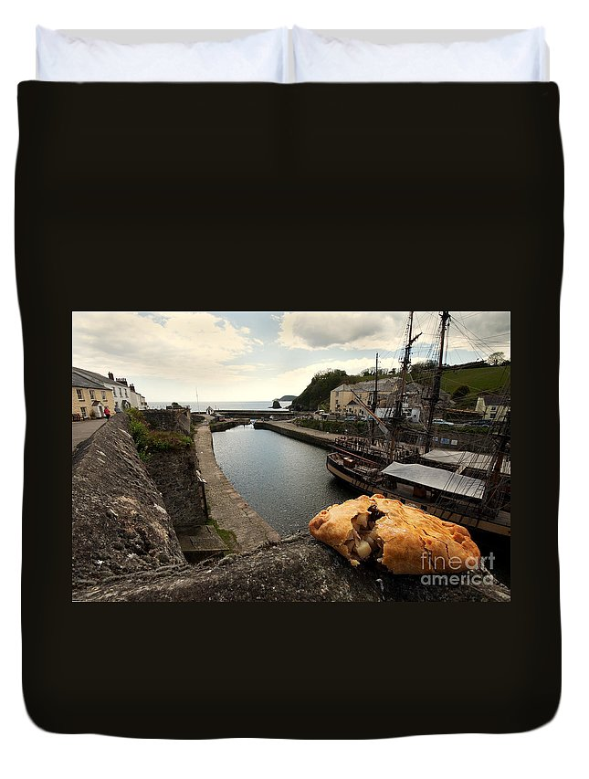 Cornish Duvet Cover featuring the photograph Pasty On The Harbour by Rob Hawkins
