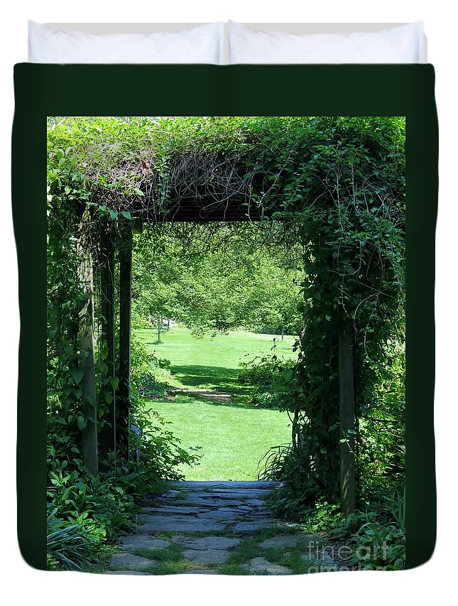 Garden Duvet Cover featuring the photograph Path To The Green by Art Dingo